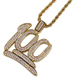 JINAO Hip Hop Iced Out 18K Gold Plated Emoji 100 Pendant Necklace with 24