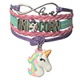 Doctor Unicorn - Cute Unicorn Bracelet Wristband Handmade Rainbow Jewelry Infinity Love Charm Gifts 17 Styles (Purple Bracelet with 2 Unicorns)