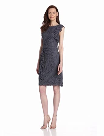 Adrianna Papell Women's Lace Ruffle Front Dress, Gray, 12