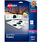 Avery Blank Printable Tickets, Tear-Away Stubs, Perforated Raffle Tickets, Pack of 200 (16154), 2 Pack (Tamaño: 2 Pack (200 cards))