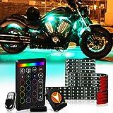 SCREAMFOX 12Pcs Motorcycle LED Light Kit Strips Multi-Color Accent Glow Neon Lights Lamp Flexible with Wireless Remote & Keychain Controller w/Switch for Harley Davidson Honda Kawasaki Suzuki Cruisers (Tamaño: 12 LED Strips)