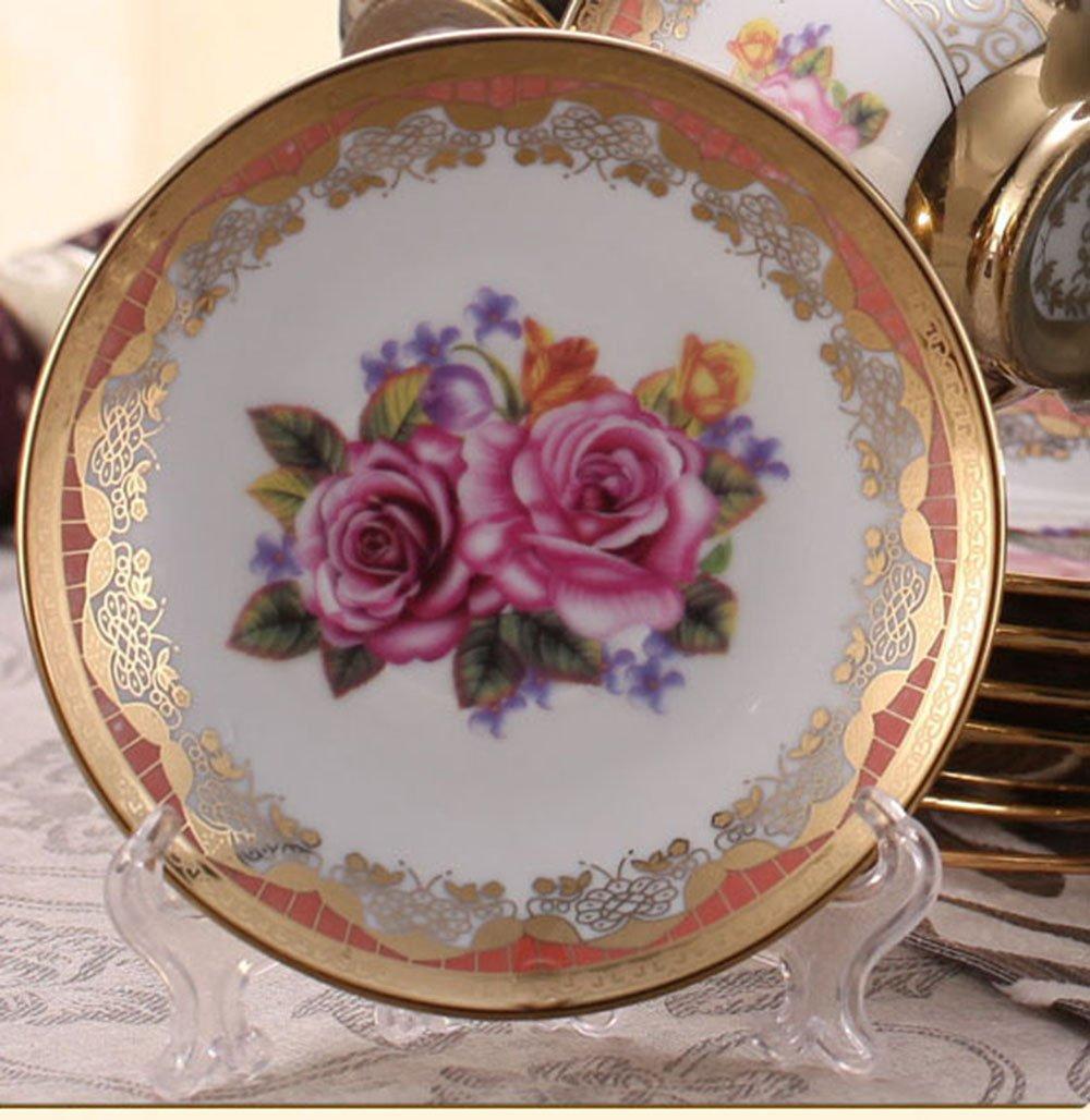 ufengkeWedding Birthday 13 Piece Gold Red Flower European-Style Chinese Ceramic Tea Set Tea Service 4