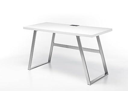 Robas Lund Schreibtisch Andria matt weiß Edelstahl 60 x 140 x 75 cm