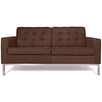 Modern Florence style abric Loveseat Home Lounge Living Room Sofa Comfortable Extreamly Durable in Chocolate Brown