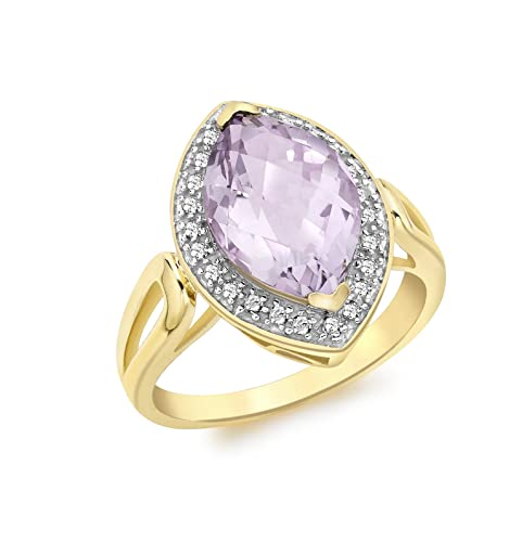 Carissima Gold 9 ct Yellow Gold with 0.15 ct Diamond Marquise Pink Amethyst Ring