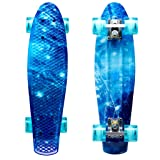 ENKEEO 22 Inch Cruiser Skateboard Plastic Banana Board with Bendable Deck and Smooth PU Casters for Kids Boys Youths Beginners, 220 Ibs. (Ocean) (Color: Ocean, Tamaño: 22 inch)