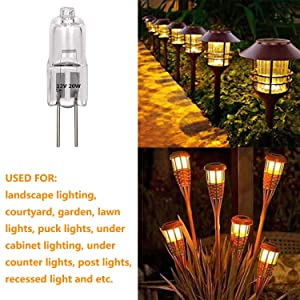 12 Pack, G4 Halogen Light Bulb, T3 JC Type Clear 20W 12V AC/DC Bi-Pin Light Bulb for Landscape Lighting,Accent Lights, Track Lighting,Under Cabinet Puck Light, Chandeliers,360°Beam Angle/Warm White (Color: Clear)