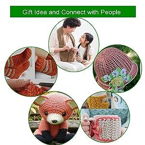 LOOEN New Set of 47 Ergonomic Crochet Hooks Set w Rubbery Handles Hook 0.6-6MM, Comfort Grip for Arthritic Hands (Pink) (Color: Pink)