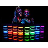 UV Body Paint Neon Glow Kit (Set of 8 Bottles .75 oz. Each) - Blacklight Reactive Fluorescent Paint - Safe On Skin, Washable, Non-Toxic, By Midnight Glo
