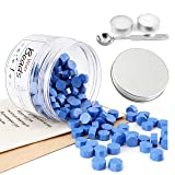 Cobalt Blue Sealing Wax Beads, Yoption 170 Pieces Octagon Wax Seal Beads with Candles and Melting Spoon for Wax Seal Stamp (Color: Cobalt Blue)