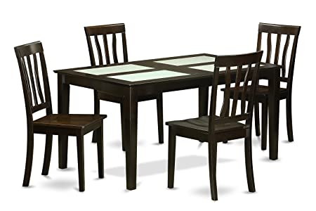 East West Furniture CAAN5G-CAP-W 5-Piece Dining Table Set