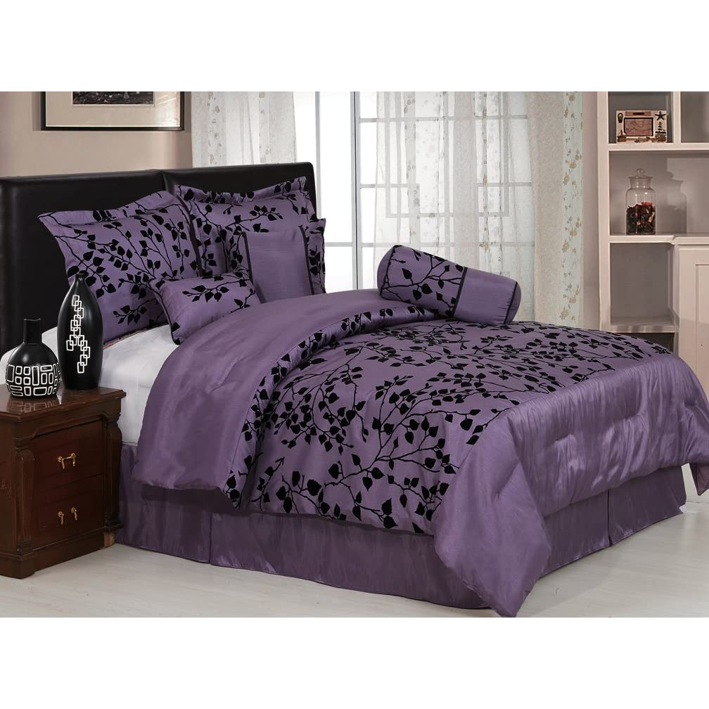 Pc modern hampton comforter set black purple bed in a bag - Black and purple bedding sets ...