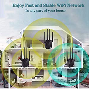 WiFi Range Extender WiFi Repeater, SURUN 1200Mbps Wireless Signal Booster, 2.4 and 5G Dual-Band WiFi Extender with 4 External Antennas, with Gigabit Ethernet Port, 360-Degree Full Coverage Network (Color: black)