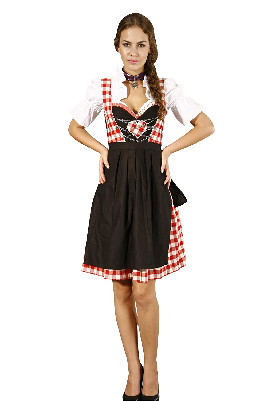 Herziges 3tlg. Maxi-Karo Dirndl rot-weiss schwarz mit Bluse und Schuerze günstig bestellen