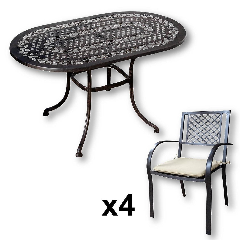 Lazy Susan – ELISE 136 x 81 cm Ovaler Gartentisch mit 4 Stühlen – Gartenmöbel Set aus Metall, Antik Bronze (JANE Stühle, Beige Kissen) günstig kaufen