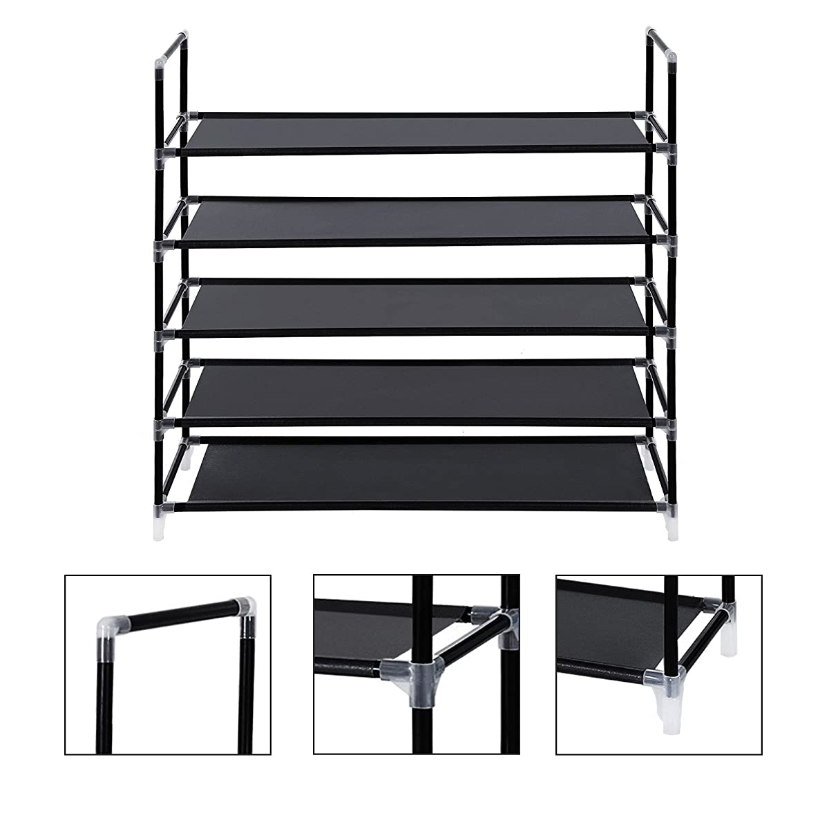 "SONGMICS 5 Tiers Shoe Rack Space Saving Shoe Tower Cabinet Storage Organizer Black 39""L Holds 20-25 Pair of Shoes ULSH55H"
