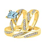 ArtLine Jewels 14k Yellow Gold Fn Aqua & Simulated Diamond Studded His & Her Trio Ring Set