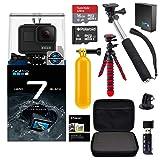 GoPro Hero7 Hero 7 Black Action Camera + GoPro Battery + Polaroid 8GB and 16GB SDHC Memory + Monopod + Flexi-Tripod + Float Handle + Hard Shell Case + Card Reader + Extras