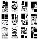 12 Pcs Journal Stencil Plastic Planner Set for Notebook/Diary/Scrapbook DIY Drawing Template Gift Pack (Color: 12 PVC Stencils)