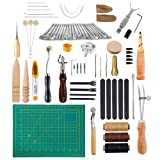 Caydo 69 Pieces Leather Tools Kit with Instructions, Matting Cut, Stitching Groover, Prong Punch, Leather Working Saddle Stamps Tools for DIY Leathercraft