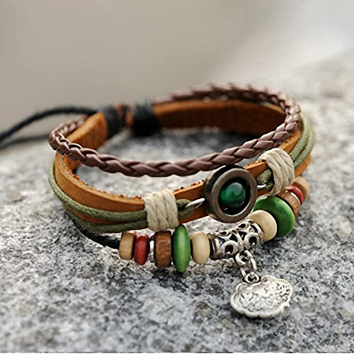 Special Holiday Occasions like Valentine's Day, Mothers Day, Christmas, Birthday, Wedding, Anniversary Gifts, Lucky Day Handmade wrap leather multi-strand fashion style charm bangle bracelet jewelry gifts for Men, Women, Teens