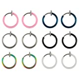 6 Pairs Value Pack Color Set Fake Clip On Earrings Non Piercing Hoop Body Jewelry
