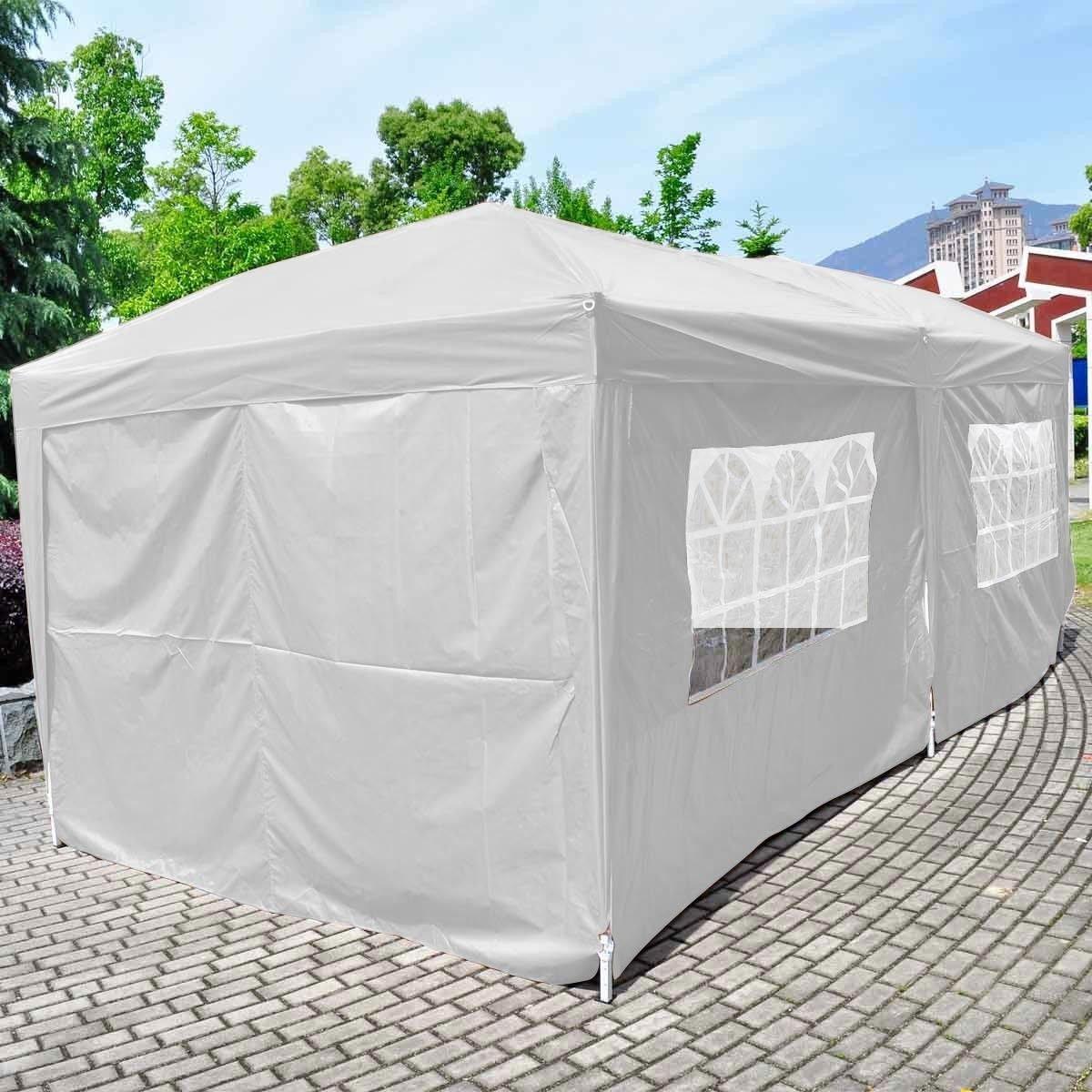 Giantex 10'x20' Ez POP up Wedding Party Tent Folding Gazebo Beach Canopy W/carry Bag (White)