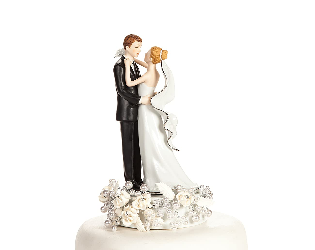 White and Silver Vintage Rose Pearl Wedding Cake Topper: Base Color: White with Silver Wiring 4