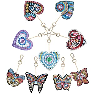 QiaoShiRen 9 Pieces DIY Diamond Painting Keychain, Butterfly and Love Heart Diamond Painting Kits 5D Full Drill Diamond Painting Key Rings for Phone, Bag, Home Decor