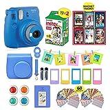 Fujifilm Instax Mini 9 Camera Bundle + 20 Instant Fuji-Film Sheets, Instax Camera Case + 14 PC Instax Accessories Bundle, Fuji Mini 9 Gift Kit, Albums, Lenses, 60 Stickers + 6 Magnet Frames (Color: Cobalt Blue)
