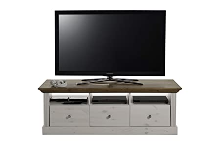 Steens Group 3177100264001F Monaco Meuble TV Design Pin Massif Blanc/Marron 145 x 56 x 49 cm