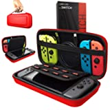 Orzly Carry Case Compatible With Nintendo Switch - RED Protective Hard Portable Travel Carry Case Shell Pouch for Nintendo Switch Console & Accessories (Color: RED Carry Case for Nintendo Switch)