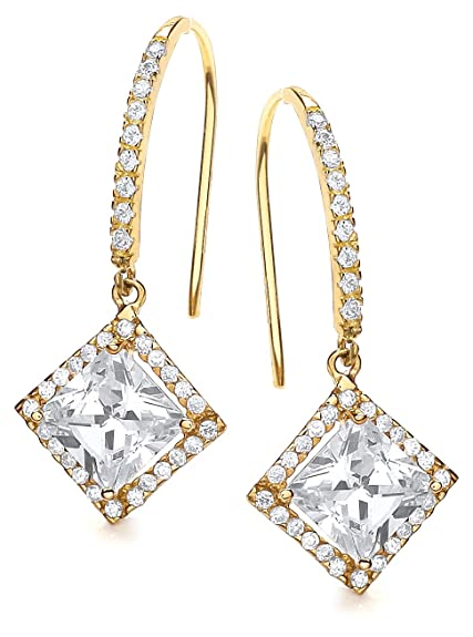 Carissima Gold 9ct Yellow Gold Square Cubic Zirconia Drop Earrings