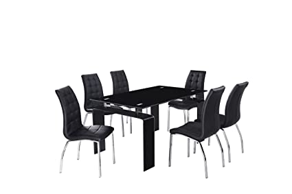 Full Glass unique design dining table with 4 chairs