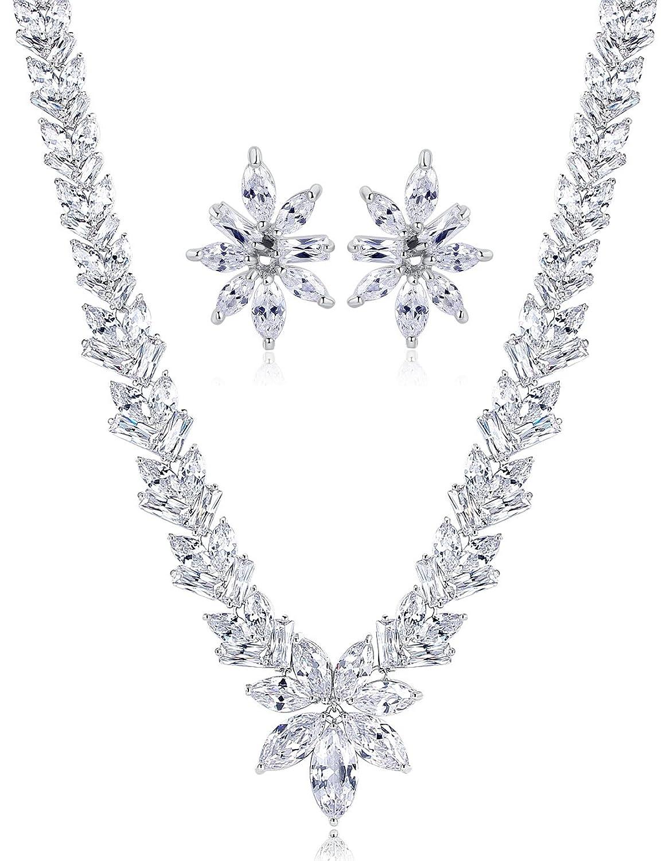 Hochzeit Braut Erklärung Halskette und Ohrringe Set für Damen, Marquise Zirkonia online bestellen