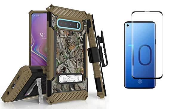 with Tempered Glass Screen Protector and Atom Cloth BC Tri Shield Compatible with Samsung Galaxy S10 Case Military Grade Cover Belt Clip Holster Camo Tree