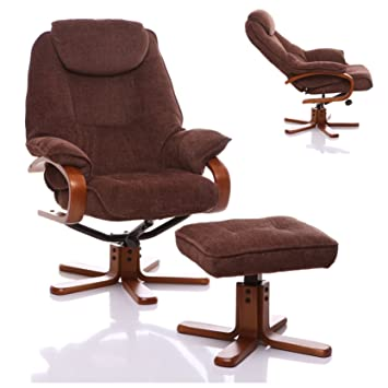 The Hong Kong - Chenille Fabric Swivel Recliner chair in Chocolate