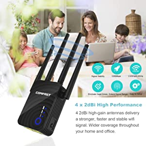 1200Mbps Dual-Band WiFi Range Extender, 2.4GHz & 5GHz WiFi Repeater, Wireless Signal Booster with Router/AP/Repeater Mode / 4 Ethernet Antennas (Color: black)