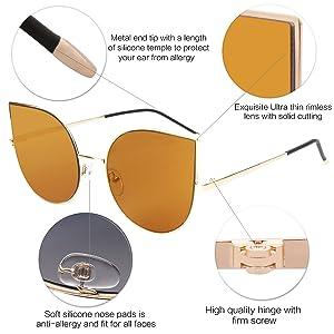 ee0b1ab394c SojoS Cat Eye Mirrored Flat Lenses Ultra Thin Light Metal Frame Women  Sunglasses SJ1022 With Gold ...