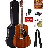 Fender CD-60S Dreadnought Acoustic Guitar - All Mahogany Bundle with Hard Case, Tuner, Strap, Strings, Picks, Austin Bazaar Instructional DVD, and Polishing Cloth (Color: Mahogany, Tamaño: Bundle w/ Hard Case)