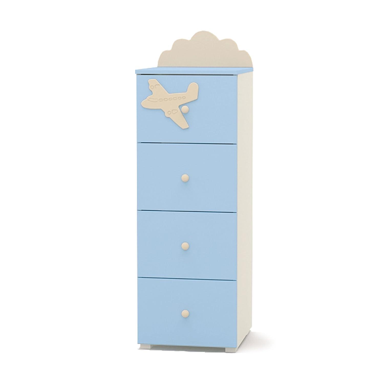 Kommode für Kinder schmal 4 Schubladen Kinderkommode AIRPLANE 40x42x111cm beige blau K4-40