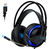 [2017 SADES R2 Gaming Headset], Gaming Headsets Headphones 7.1 Channel Virtual USB Surround Stereo Wired PC Over-Ear Stereo Bass With Mic Volume Control Noise Canceling LED For PC Laptop Mac Mobile (Color: R2 Black Blue)