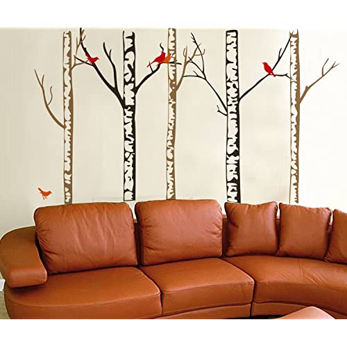WallStickersUSA Contemporary Wall Sticker Decal Tree Trunks and Colorful Birds X-Large