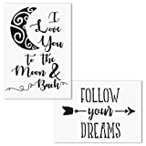 AZDIY Reusable Stencil Set- I Love You to The Moon and Back, Follow Your Dreams Stencils - Word Stencils for Painting on Wood- Quote Painting Stencil - for Home Décor & DIY Projects (Tamaño: Love You to The Moon and Back, Follow Your Dreams)