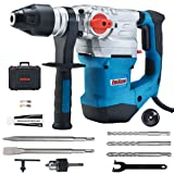 ENEACRO 1-1/4 Inch SDS-Plus 12.5 Amp Heavy Duty Rotary Hammer Drill, Safety Clutch 4 Functions with Vibration Control Including Grease, Chisels and Drill Chuck with Case (Color: Blue)