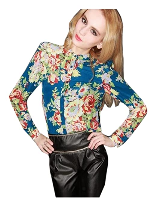CA Fashion Women's Mandarin Collar Button Down Shirt Blouse Floral Top (Beige)