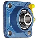 SKF FY 3/4 TF Ball Bearing Flange Unit, 4 Bolts, Setscrew Locking, Regreasable, Contact and Flinger Seal, Cast Iron, Inch, 3/4