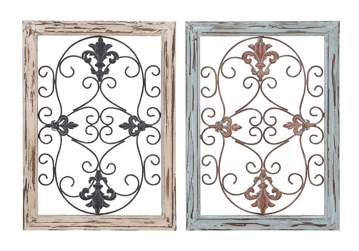 Deco 79 Wood Metal Wall Panel, 2 Assorted, 16 by 22