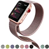 Tces Sport Wristbands Compatible for Apple Watch Band 38mm 42mm, Soft Lightweight Breathable Woven Nylon Sport Loop Replacement Strap Compatible for iWatch Apple Watch Series 3 2 1, Nike+, Edition  (Color: A-PinkSand, Tamaño: 42 MM)