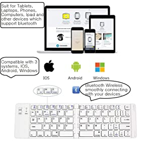Foldable Bluetooth Keyboard, IKOS Ultra Slim Mini BT Folding Keyboard Compatible for iPhone X 8 7 6S 6 Plus, iPad Mini/Pro/Air, Samsung and All Other Android Smartphones/Tablets and Windows System (Color: Silver & White)